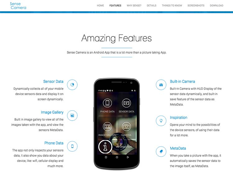 Sense Camera Android App Screens - App Features