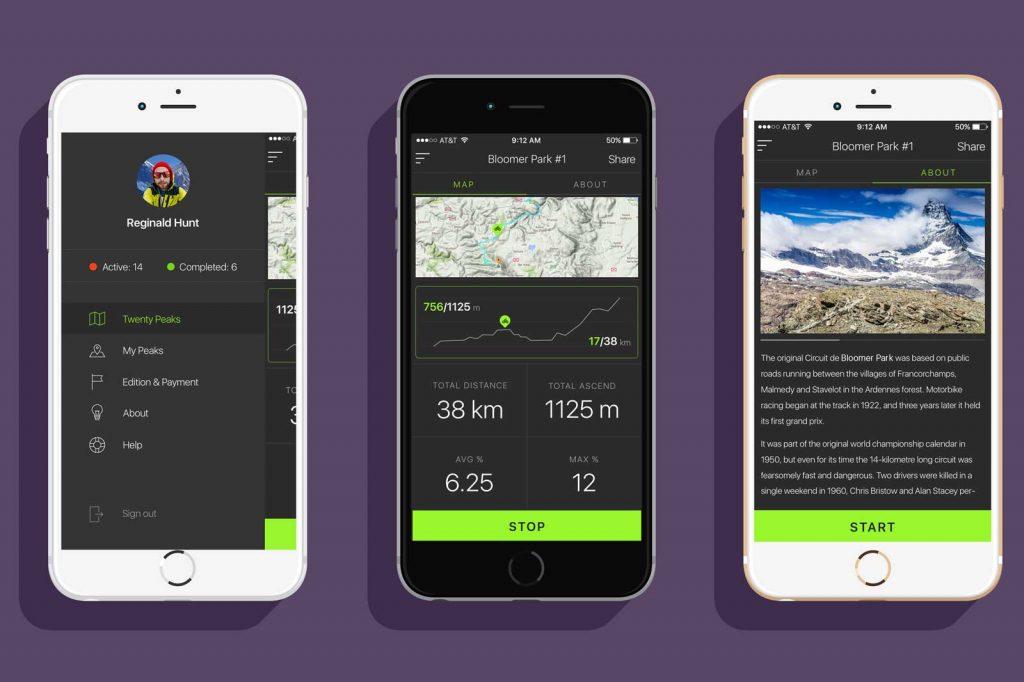 TwentyPeaks - Android App development screenshots