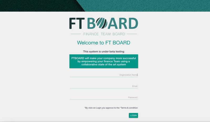 FTBoard - Main Screen - Web App for CFO's