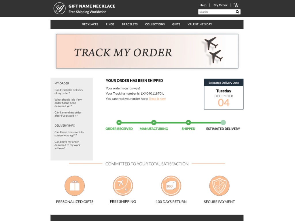 GiftName - Order Tracking