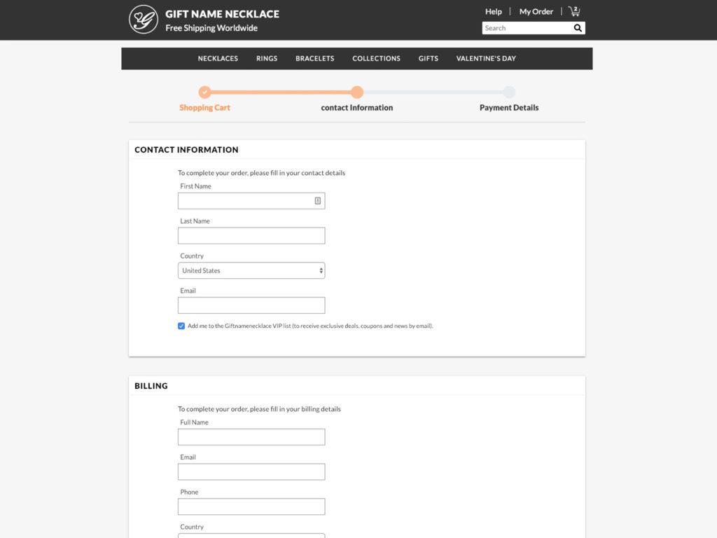 GiftName - Checkout Process