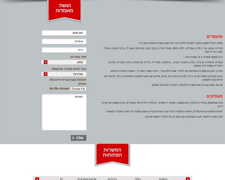 JobShop - Part of homePage - Responsive WordPress Website