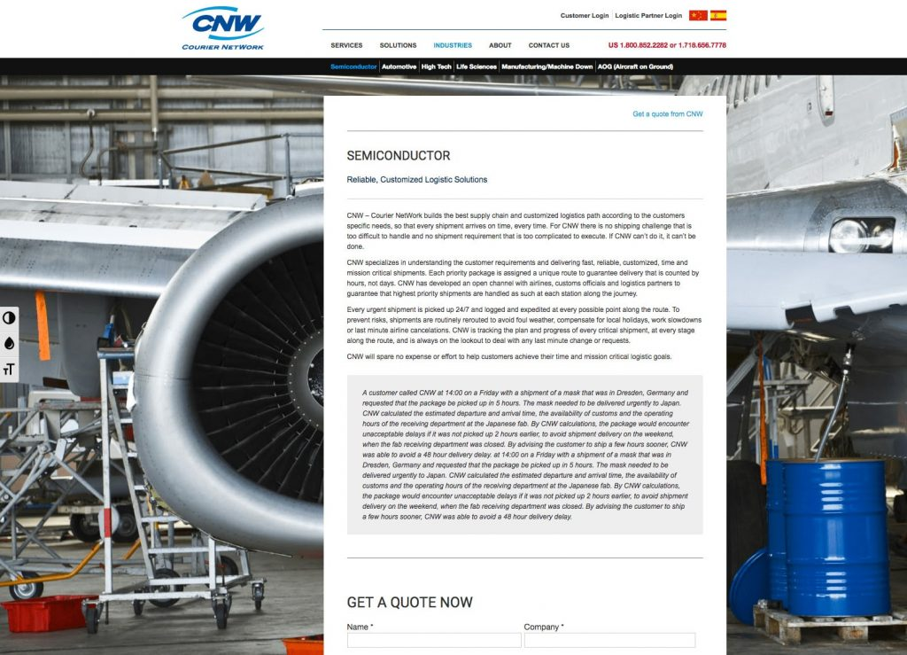CNW - WordPress Website - Industry Page