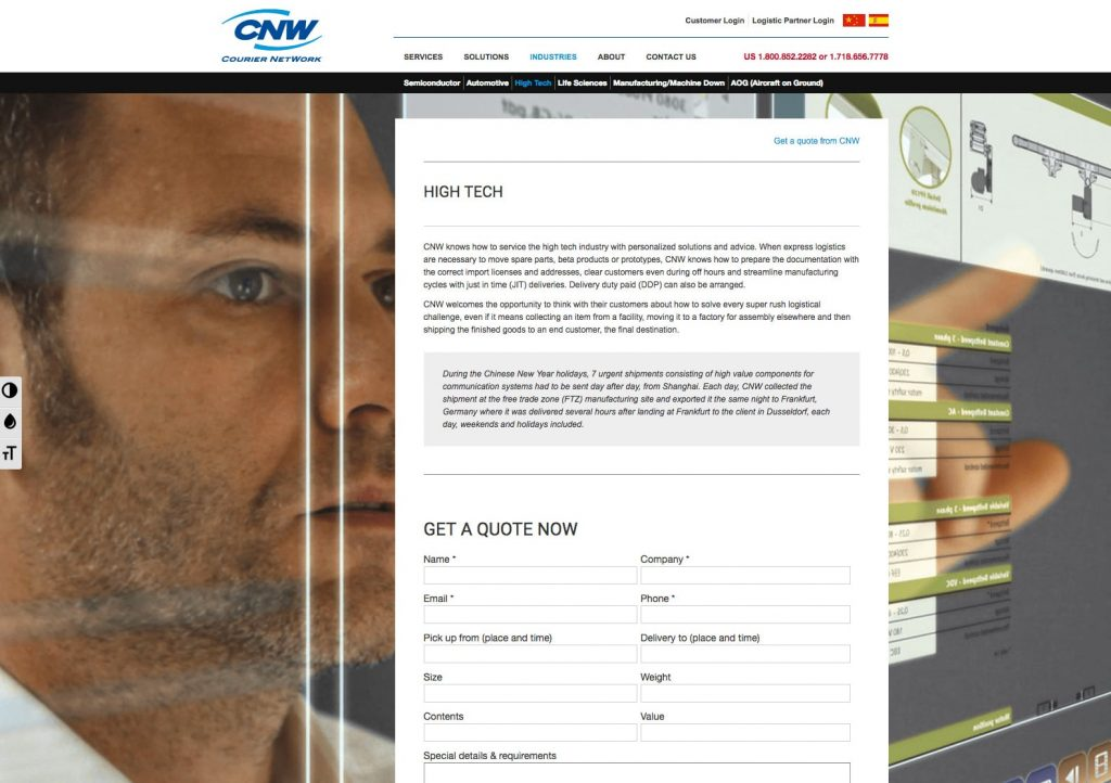 CNW - WordPress Website - High Tech Page