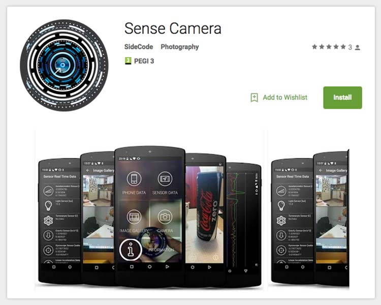 Sense Camera Android App Screens - image from GooglePlay