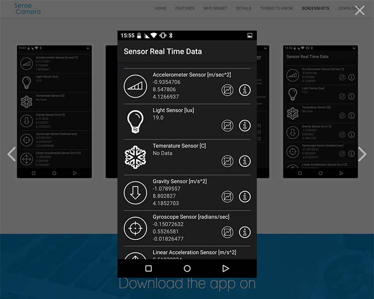 Sense Camera Android App Screens - Sensor DATA