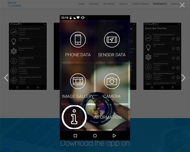 Sense Camera Android App Screens - Mobile App Screens
